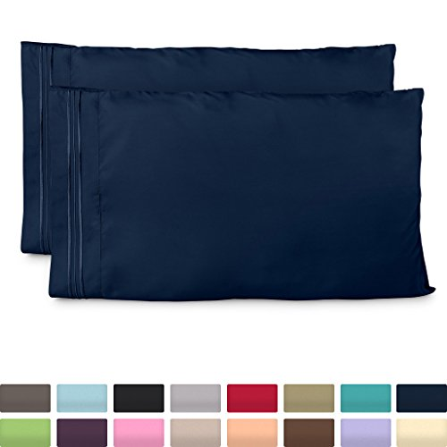 Cosy House Collection Pillowcases King Size - Navy Blue Luxury Pillow Case Set of 2 - Premium Super Soft Hotel Quality Pillow Protector Cover - Cool & Wrinkle Free - Hypoallergenic