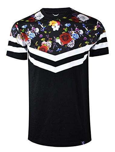 (SCREENSHOTBRAND-S11858 Mens Hipster Hip-Hop Premium Tees - Stylish Longline Fashion Jersey T-Shirt Flower Print Detailed-Black-2XLarge)