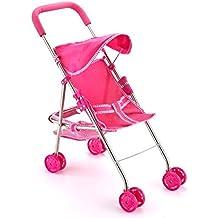 Joyin Toy Pink Doll Stroller My First Doll Stroller Foldable with Hood, Basket & Swivel Wheels