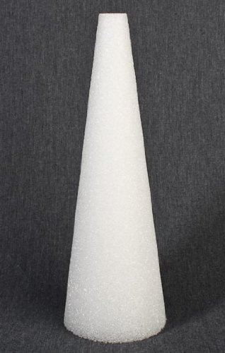 Package of 4 White Styrofoam Cones for Crafting and Decorating