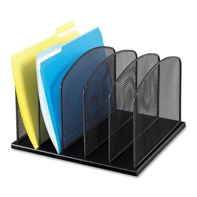 Safco Products - Safco - Mesh Desk Organizer, 5 Sections, Steel, 12 3/8w x 10 7/8d x 15 5/8h, Black - Sold As 1 Each - Large-capacity 2