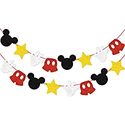 Mickey Themed Felt Garland Birthday Party Banner Decoration Supplies