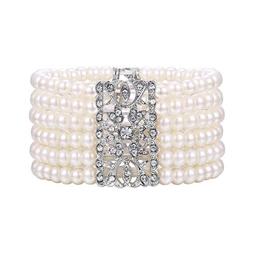 BriLove Women's Vintage Inspired Crystal Cream Simulated Pearl Hollow Stretch Bracelet Clear -
