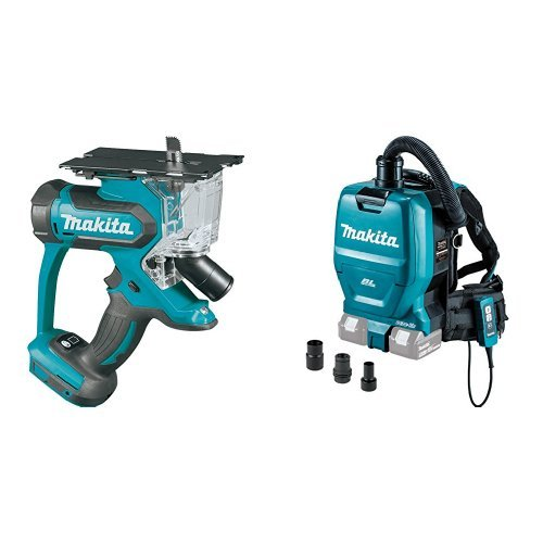 Makita XDS01Z 18V LXT Cut-Out Saw (Tool Only) & XCV05ZX 18V X2 LXT (36V) Brushless Backpack Dust Extractor/Vacuum (Out Cordless Tool 18v Cut)