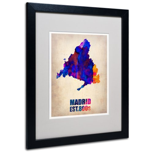 Madrid Watercolor Map by Naxart Matted Framed Art, 16 by 20-Inch, Black Frame by Trademark Fine Art
