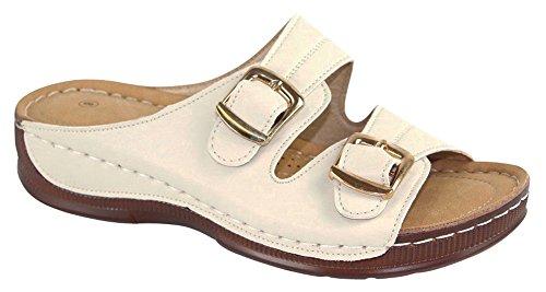 Cambridge Select - Hebilla De Dos Correas Para Mujer Comfort Acolchada Slip-on Sandalia De Cuña Baja, Albaricoque