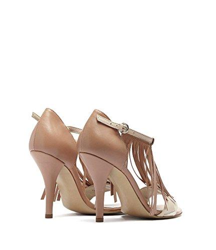 Poi Lei PoiLei Ria - Damen Schuhe/Fransen-Sandalette - High-Heel mit Stiletto-Absatz Nude