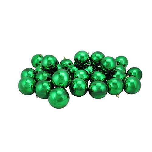 Northlight 32 Count Shiny Xmas Shatterproof Christmas Ball Ornaments, 3.25 (80mm), Green
