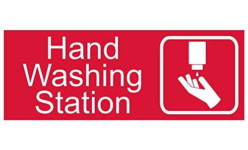 Engraved Plastic Signs (ComplianceSigns Engraved Plastic Hand Washing Station Sign, 8 X 3 in. with English Text and Symbol, White on)
