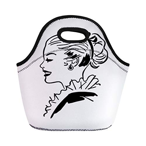 Semtomn Lunch Tote Bag 1940S Ponytail Gal Retro 1950S 40S 50S Americana Beautiful Reusable Neoprene Insulated Thermal Outdoor Picnic Lunchbox for Men Women -