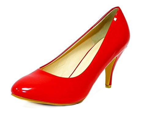 Ktc Women's Red Mid Heel Court Shoes xC2HXxO