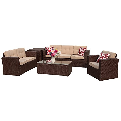 PATIOROMA Outdoor Rattan Sectional Furniture Set with Beige Seat and Back Cushions, Red Throw Pillows, Aluminum Frame, Espresso Brown PE Wicker (8 Pieces) (8 Piece Patio Set Cheap)