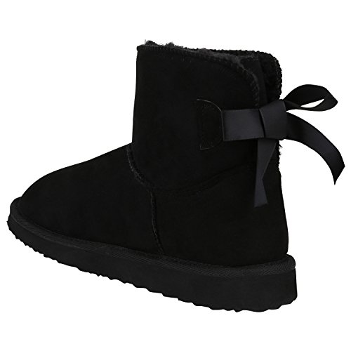 Stiefelparadies Damen Schuhe Stiefeletten Schlupfstiefel Warm Gefütterte Stiefel Schleife Flandell Schwarz Autol Schleifen