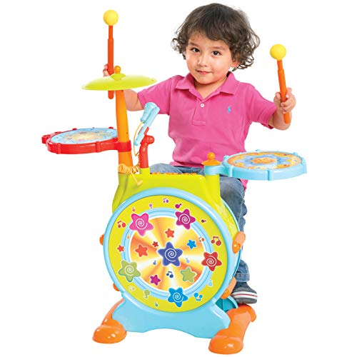 Best Choice Products Kids Electronic Musical Instrument Toy Drum Set w/ Adjustable Sing-Along, Microphone, Stool, Drumsticks - Multicolor
