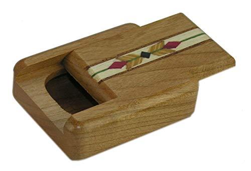(Cherry Wood Pill Box | Yellow Feather Black Diamond Inlay)