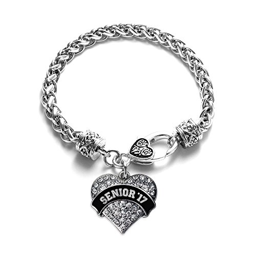 Inspired Silver - Black and White Senior 2017 Braided Bracelet for Women - Silver Pave Heart Charm Bracelet with Cubic Zirconia Jewelry