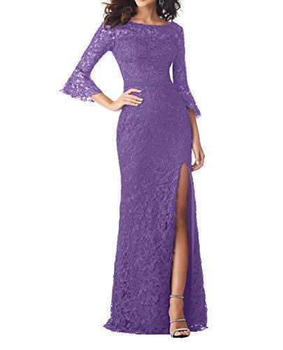 Damen Festlichkleider Etuikleider Bodenlang Violett Brautmutterkleider Partykleider Abendkleider mit Langarm Charmant ZdYXxnIFd