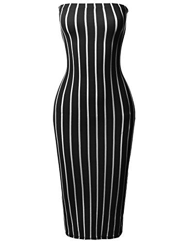 Tights And Dresses (Made by Emma Pinstripe Print Body-Con Tube Midi Dress Black S)