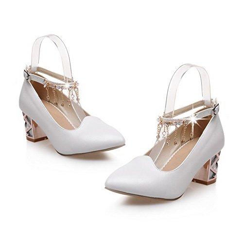 AllhqFashion Damen Mittler Absatz Rein Schnalle Weiches Material Spitz Zehe Pumps Schuhe Weiß