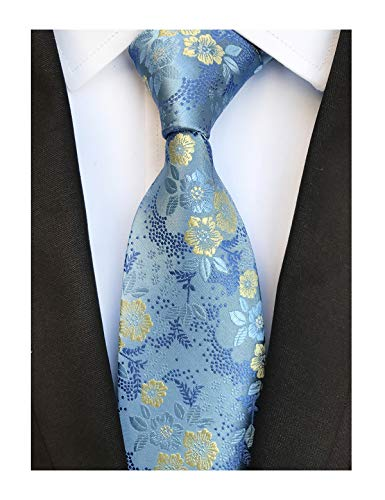 Men's Sky Blue Tie Yellow Spring Floral Party Wedding Woven Silk Paisley ()