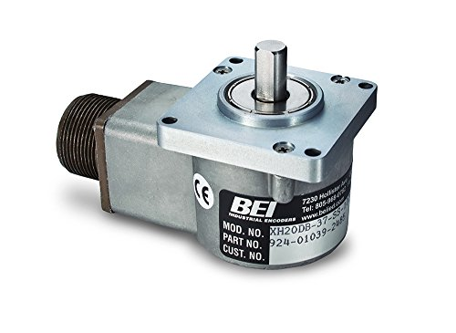 BEI Sensors 01039-1869 H20 Rotary Incremental Optical Encoder, H20DB-37-F5-SS-336-AB-24V/OCR-SM14, Heavy duty 2'' diameter square flange mount, 1.25'' diameter pilot and 3/8'' diameter shaft, 336 ppr, 2'' by BEI SENSORS