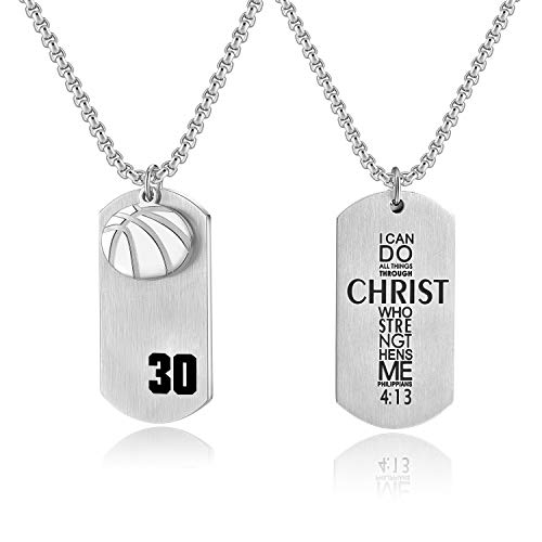 - Bible.Shop Boys' Basketball Player Number 30 Stainless Steel Cross Dog Tag Pendant I Can Do All Things Bible Verse Necklace (Silver)