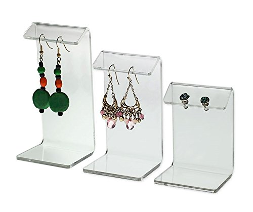 Source One Deluxe 3 Piece Set Earring Display Stands Holders Acrylic (1 Set, Clear)