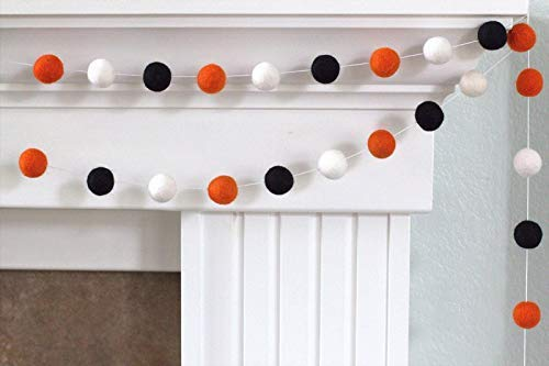Halloween Felt Ball Garland- Bright Orange, Black, White Autumn Fall Decor- 1