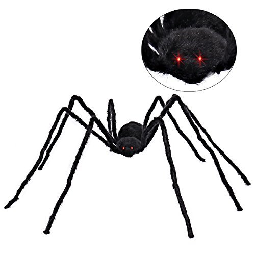 5 ft Huge Realistic Looking Hairy Spider With Red LED Eyes Halloween Outdoor Decoration Props by Spooktacular Creations (Halloween Decorations Outside)