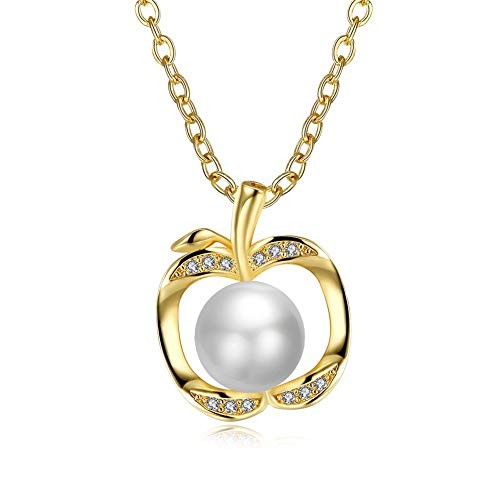 QMM necklace Pendant Apple Shape with White Pearl Party Accessorise Necklaces & Pendants for Women Casual Jewelry Anniversary ()