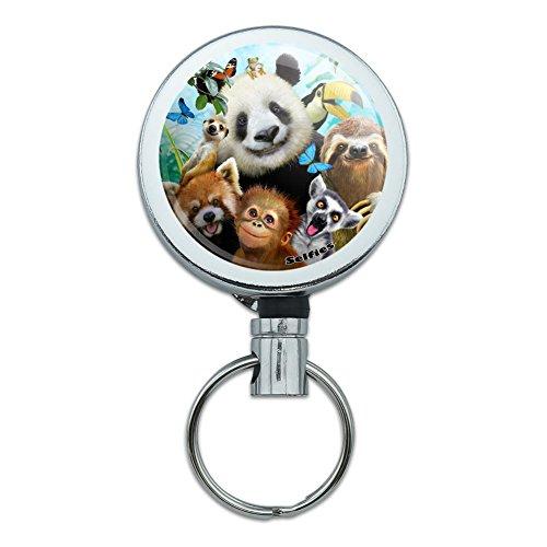 Card Holder Monkey (Zoo Animals Selfie Panda Bear Sloth Meercat Monkey Lemur Heavy Duty Metal Retractable Reel ID Badge Key Card Tag Holder with Belt Clip)