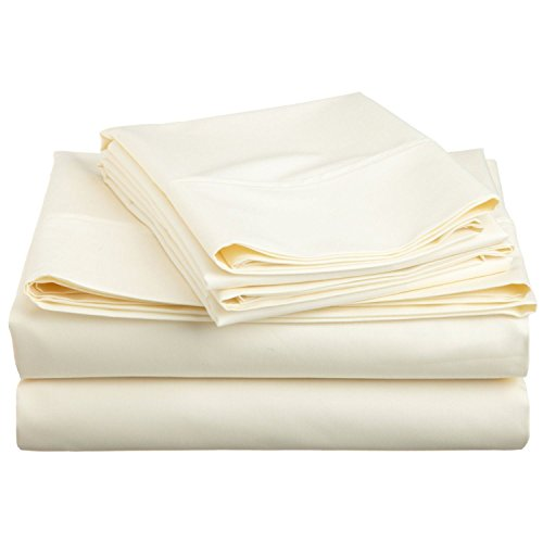 Cotton Blend 600 Thread Count , Deep Pocket, Soft, Wrinkle Resistant 3-Piece Twin XL Bed Sheet Set, Solid Ivory