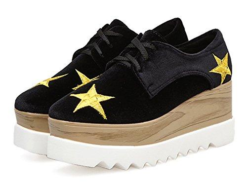 Aisun Damen Samt Oxford Sterne Schnürsenkel Durchgängig Platrau Keilabsatz Erhöht Sneakers Schwarz