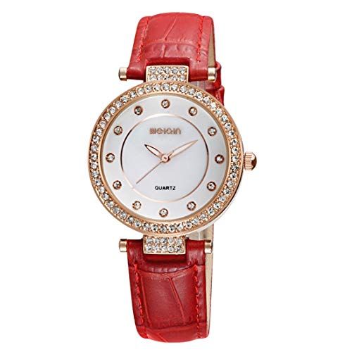 (Outdoor Sport Watches 3819 Fashionable and Concise Diamond Dial Bezel Quartz Wrist Watch with Genuine Leather Band & Luminous Function for Women(Coffee) Watches (Color : Red))