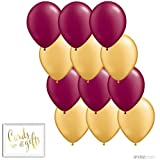 Andaz Press 11-inch Latex Balloon Duo Party Kit with Gold Cards & Gifts Sign, Burgundy and Gold, 12-pk, 2018 2019 2020 Graduation Decorations