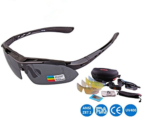 Polarized Sports Sunglasses with 5 Interchangeable Lenses...