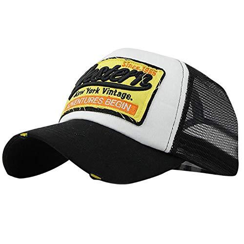 保持する引退する建てるキャップ 男性 ヒップホップ 野球帽 夏帽子 カジュアル女性 刺繍 サンバイザー帽子,ブラック