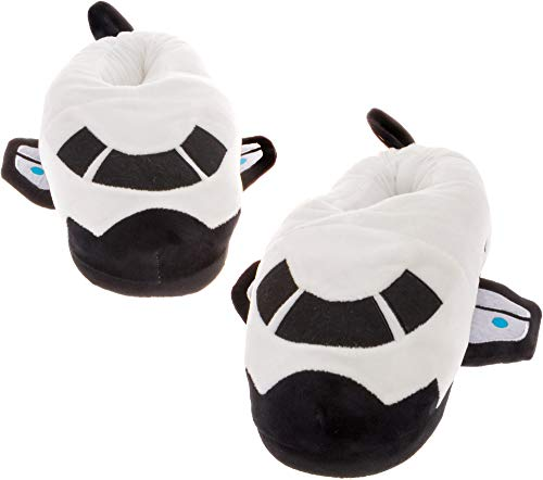 Silver Lilly Space Shuttle Slippers - Plush Spaceship Slippers w/Comfort Foam Support (White & Black, X-Large)
