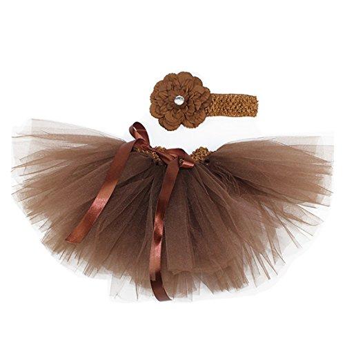 MizHome Newborn Baby Girls Birthday Layered Tulle Tutu Skirt Flower Peony Headwear Outfits Coffee ()