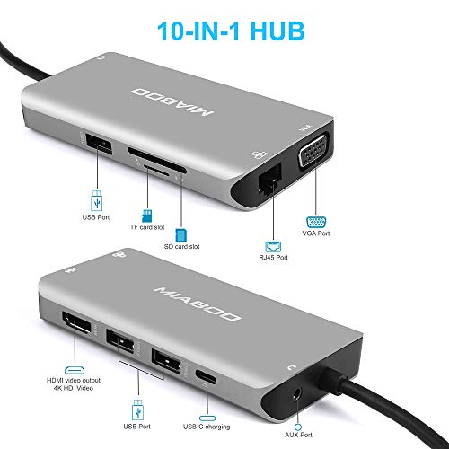 USB C HUB with HDMI and Ethernet Adapter, USB C Dock to VGA, 3 Ports with USB 3.0 and SD/TF Card Reader for MacBook Pro, MacBook Air/iPad Pro, Surface Book 2 and More (Space Gray)