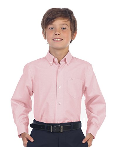 Boys Stripe Oxford - Gioberti Boy's Oxford Long Sleeve Dress Shirt, Pink, Size 10