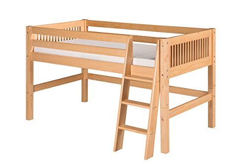 - Camaflexi Mission Style Solid Wood Low Loft Bed, Twin, Side Angled Ladder, Natural