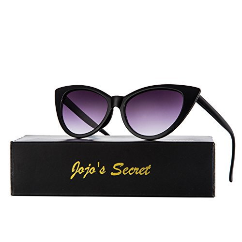 JOJO'S SECRET Super Cat Eye Sunglasses For Women Retro Plastic Frame Clear Lens Eyewear JS029 (Black/Light Grey, - For Eye Cat Sunglasses Women