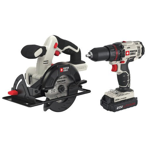 Porter-Cable PCCK612L2R 20V MAX Cordless Lithium-Ion 1/2 in. Drill & 5-1/2 in. Circular Saw Combo Kit (Certified Refurbished)