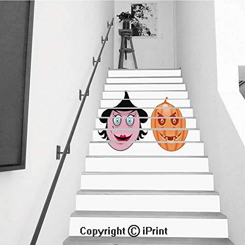 13Pcs Stair Sticker Decals 3D Creative Building Stair