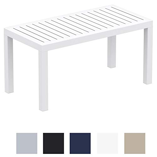 CLP Mesa Lounge Ocean Moderna I Mesa De Jardin Impermeable I Mesa De Plastico Resistente A Los Rayos UV I Mesa De Exterior Robusta I Color: Blanco
