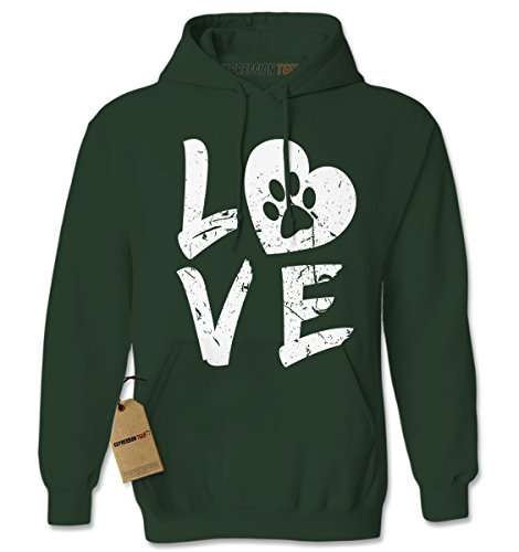 Expression Tees Hoodie Love Dog Paw Print Adult Medium Forest Green (Love Hoodie Puppy Mens)