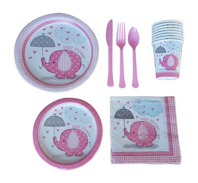 Elephant-Baby-Shower-Party-Supplies-kit-Pink-for-girls-Deluxe-w-Lunch-and-Dessert-Plates-Napkins-Cups-and-Cutlery