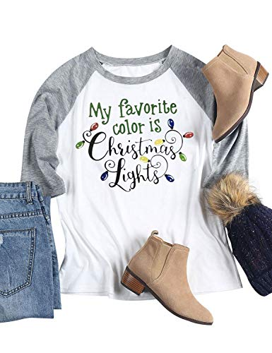 Nlife Women My Favorite Color is Christmas Lights T-Shirt Color Block Casual Tops Blouse