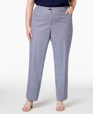 Anne Klein Womens Plus Gingham High Rise Straight Leg Pants Navy 22W